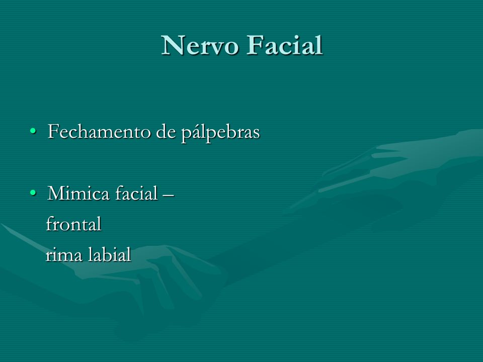 Nervo Facial Fechamento de pálpebras Mimica facial – frontal