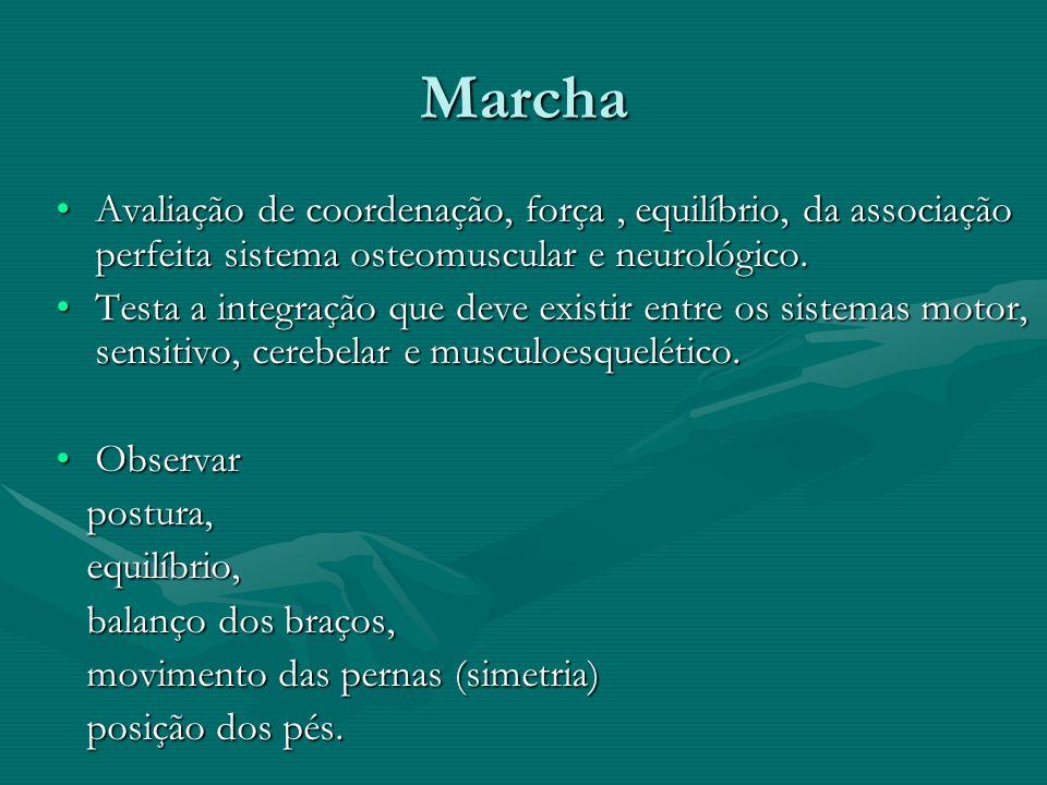 Marcha Avaliação de coordenação, força , equilíbrio, da associação perfeita sistema osteomuscular e neurológico.