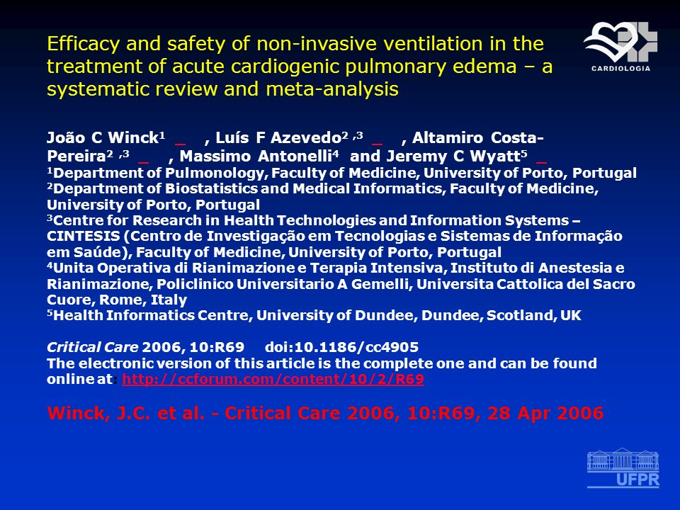 Efficacy and safety of non-invasive ventilation in the treatment of acute cardiogenic pulmonary edema – a systematic review and meta-analysis