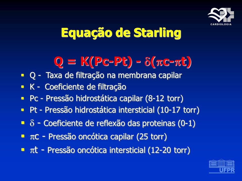 Equação de Starling Q = K(Pc-Pt) - (c-t)