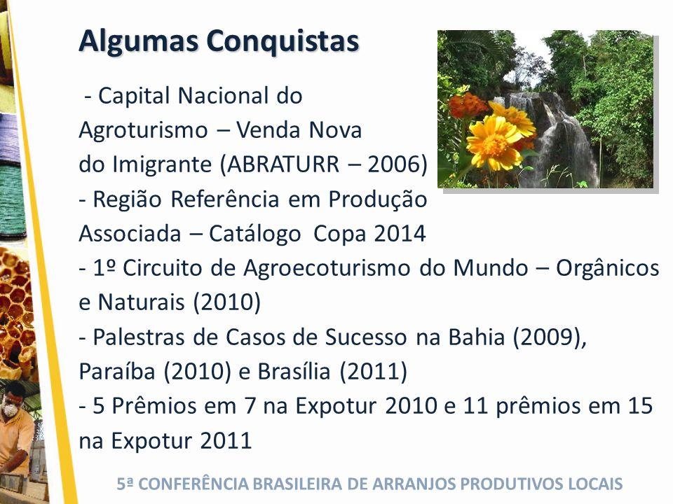 Algumas Conquistas - Capital Nacional do Agroturismo – Venda Nova