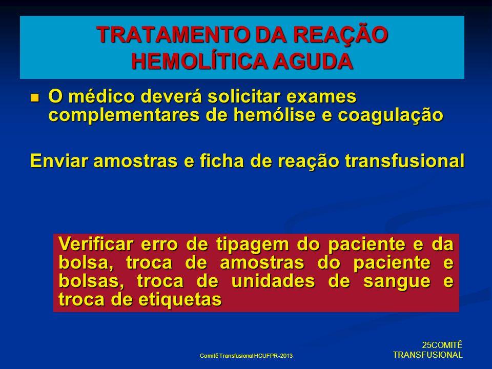 TRATAMENTO DA REAÇÃO HEMOLÍTICA AGUDA