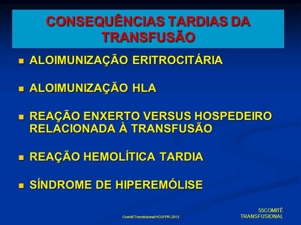 CONSEQUÊNCIAS TARDIAS DA TRANSFUSÃO