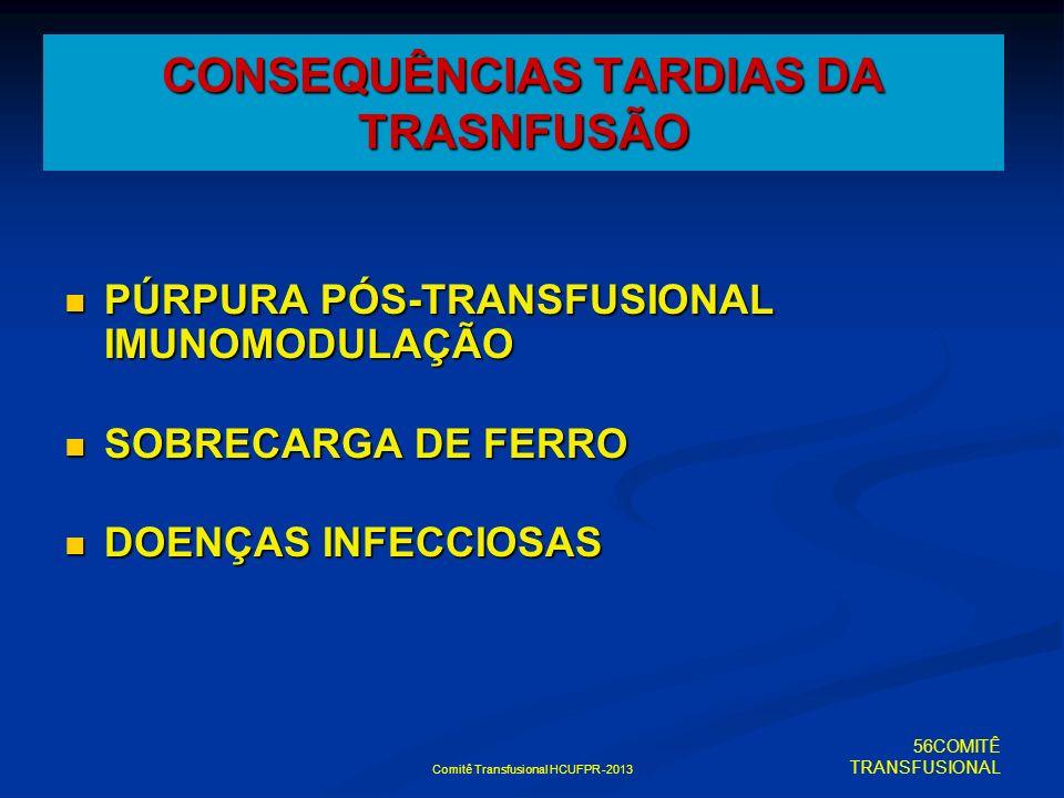 CONSEQUÊNCIAS TARDIAS DA TRASNFUSÃO