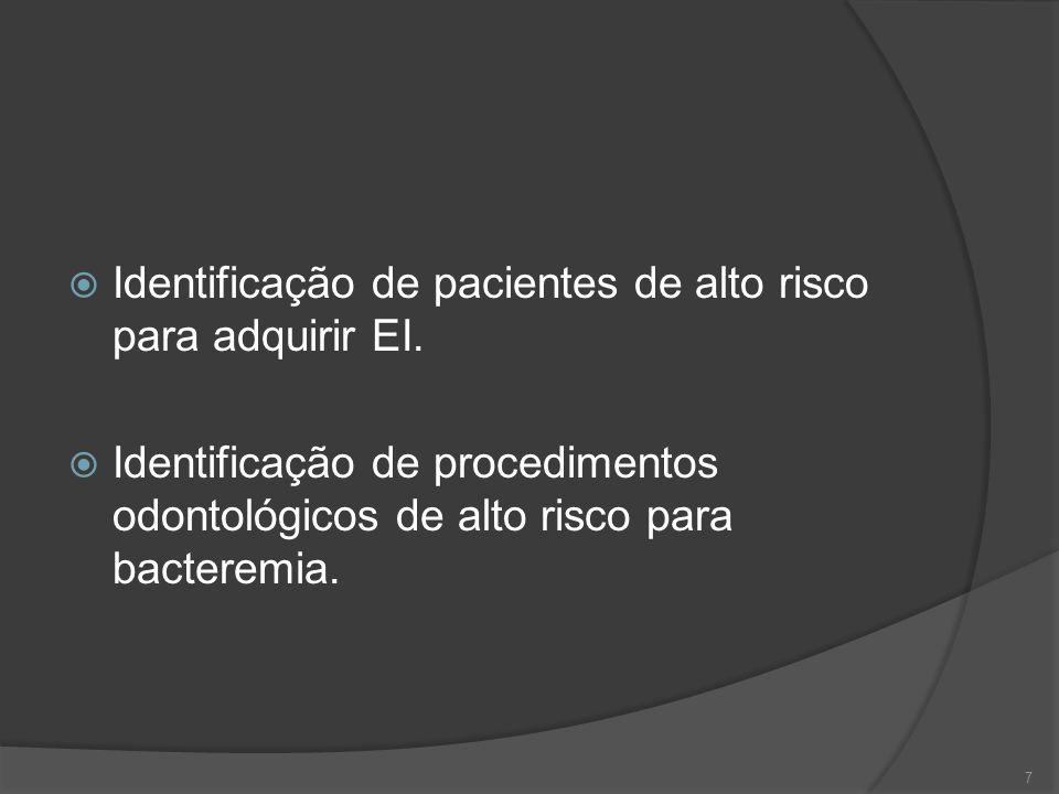 Identificação de pacientes de alto risco para adquirir EI.