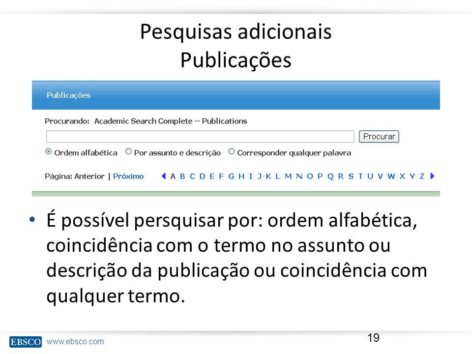 Pesquisas adicionais Publicações