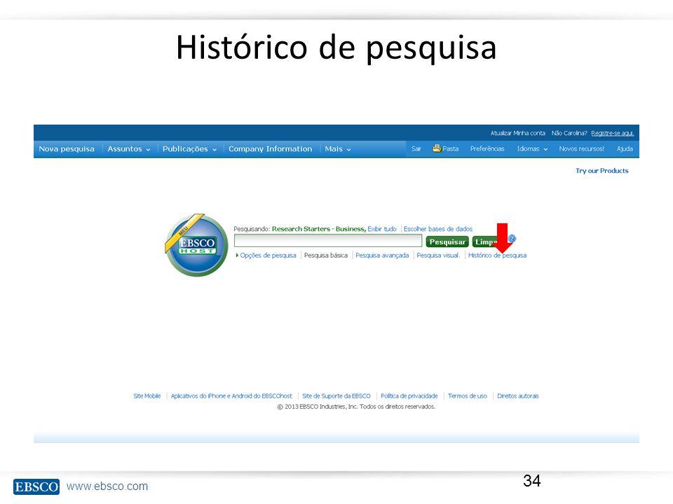 Histórico de pesquisa