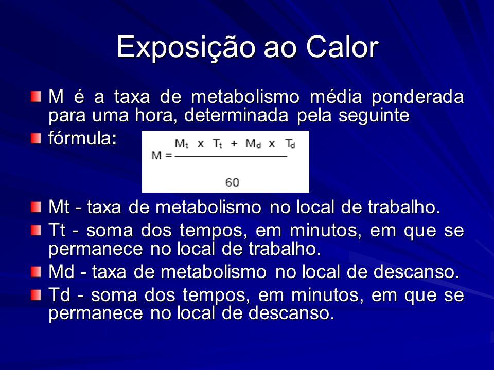 Exposição ao Calor M é a taxa de metabolismo média ponderada para uma hora, determinada pela seguinte.