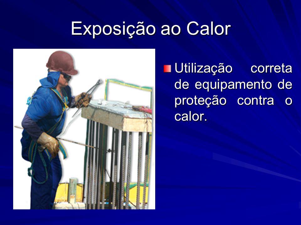 Exposição ao Calor Utilização correta de equipamento de proteção contra o calor.