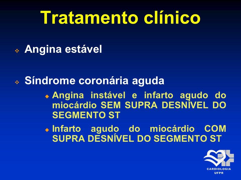 Tratamento clínico Angina estável Síndrome coronária aguda