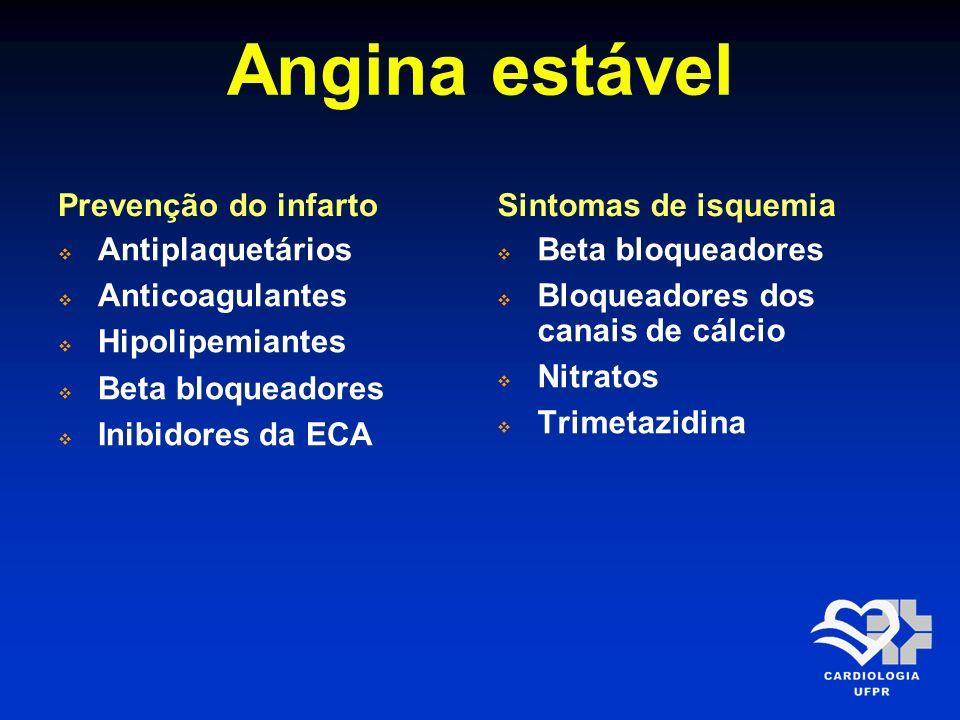 Angina estável Prevenção do infarto Sintomas de isquemia