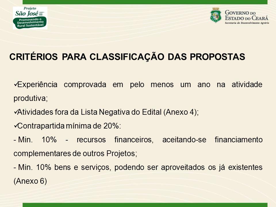 CRITÉRIOS PARA CLASSIFICAÇÃO DAS PROPOSTAS
