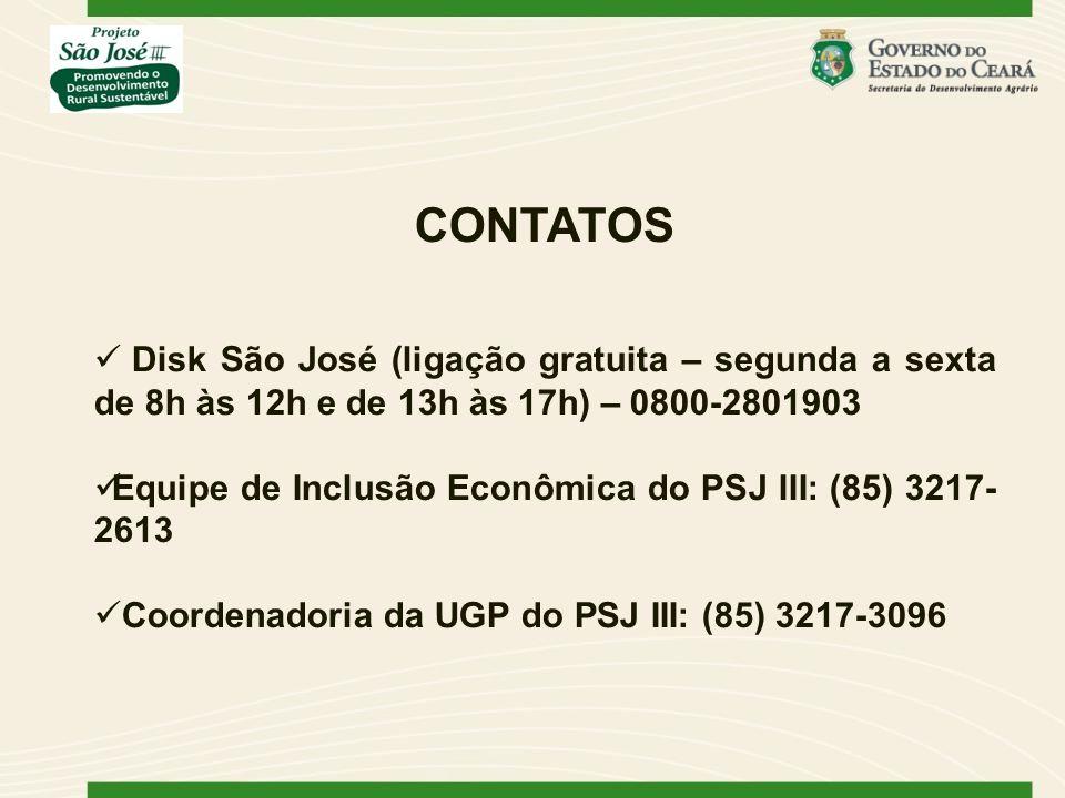 CONTATOS Disk São José (ligação gratuita – segunda a sexta de 8h às 12h e de 13h às 17h) – 0800-2801903.