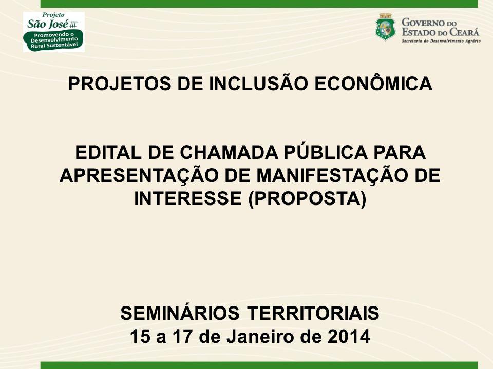 PROJETOS DE INCLUSÃO ECONÔMICA SEMINÁRIOS TERRITORIAIS