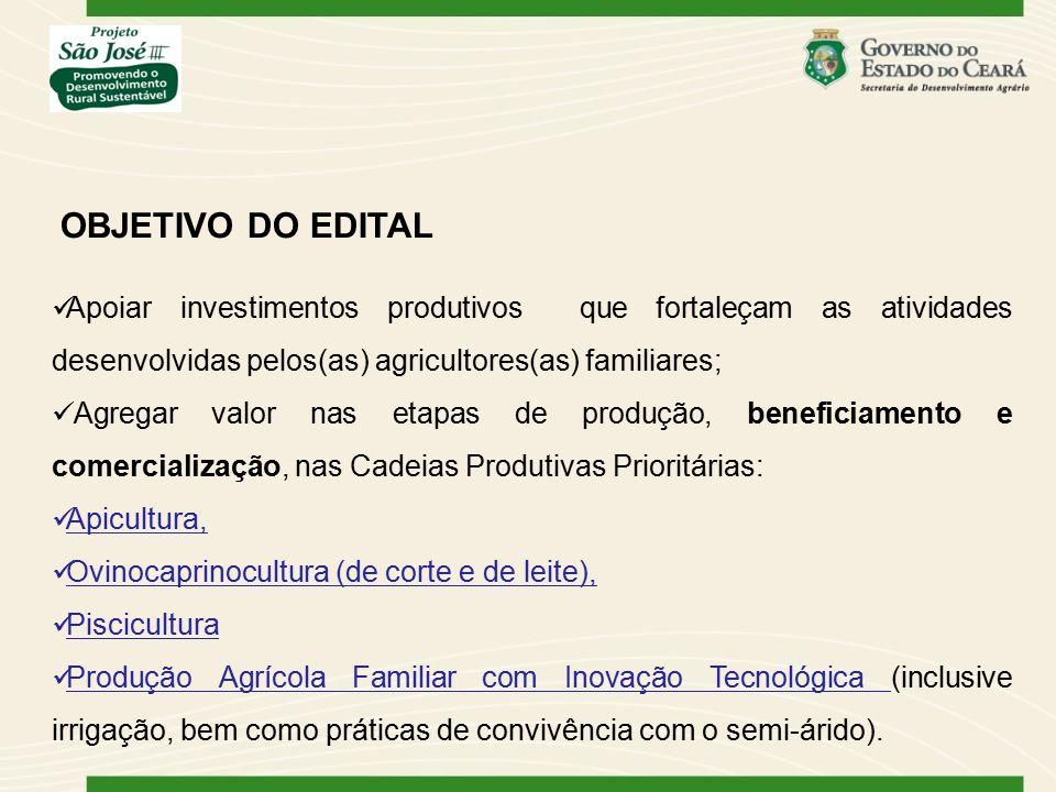 OBJETIVO DO EDITAL Apoiar investimentos produtivos que fortaleçam as atividades desenvolvidas pelos(as) agricultores(as) familiares;