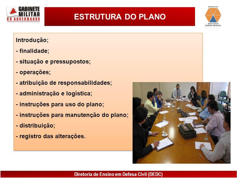 ESTRUTURA DO PLANO Introdução; - finalidade;