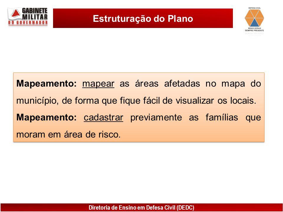 Estruturação do Plano Mapeamento: mapear as áreas afetadas no mapa do município, de forma que fique fácil de visualizar os locais.
