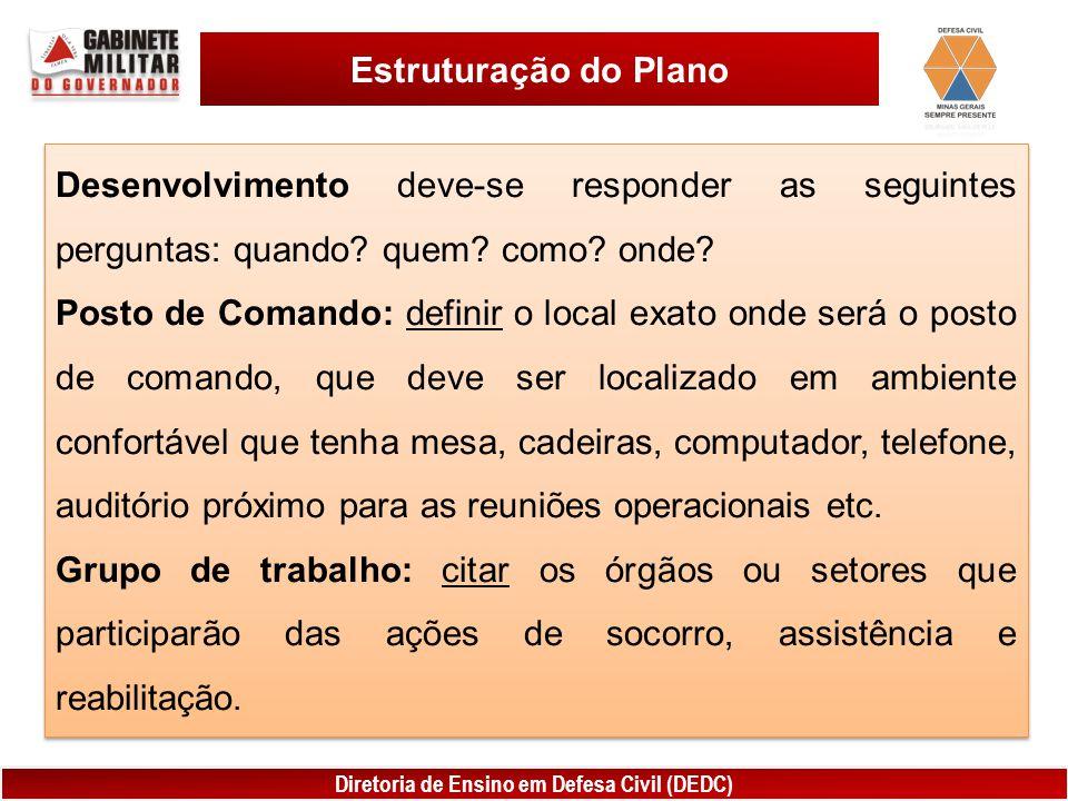 Estruturação do Plano Desenvolvimento deve-se responder as seguintes perguntas: quando quem como onde