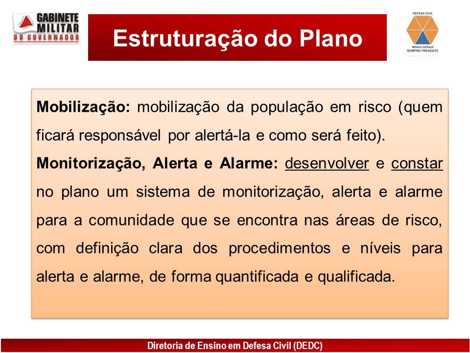 Estruturação do Plano Mobilização: mobilização da população em risco (quem ficará responsável por alertá-la e como será feito).