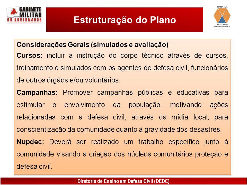 Estruturação do Plano Considerações Gerais (simulados e avaliação)