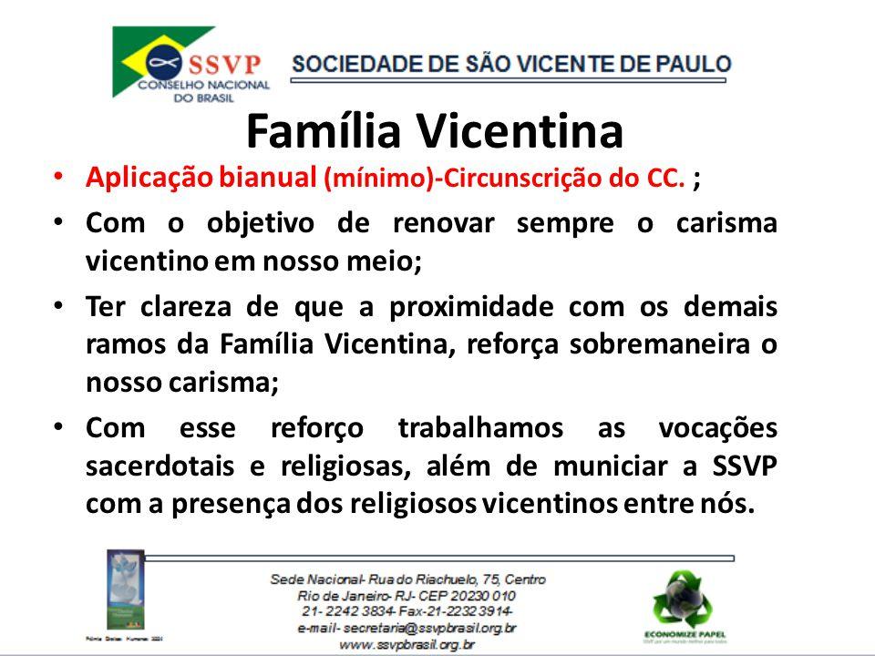 Família Vicentina Aplicação bianual (mínimo)-Circunscrição do CC. ;