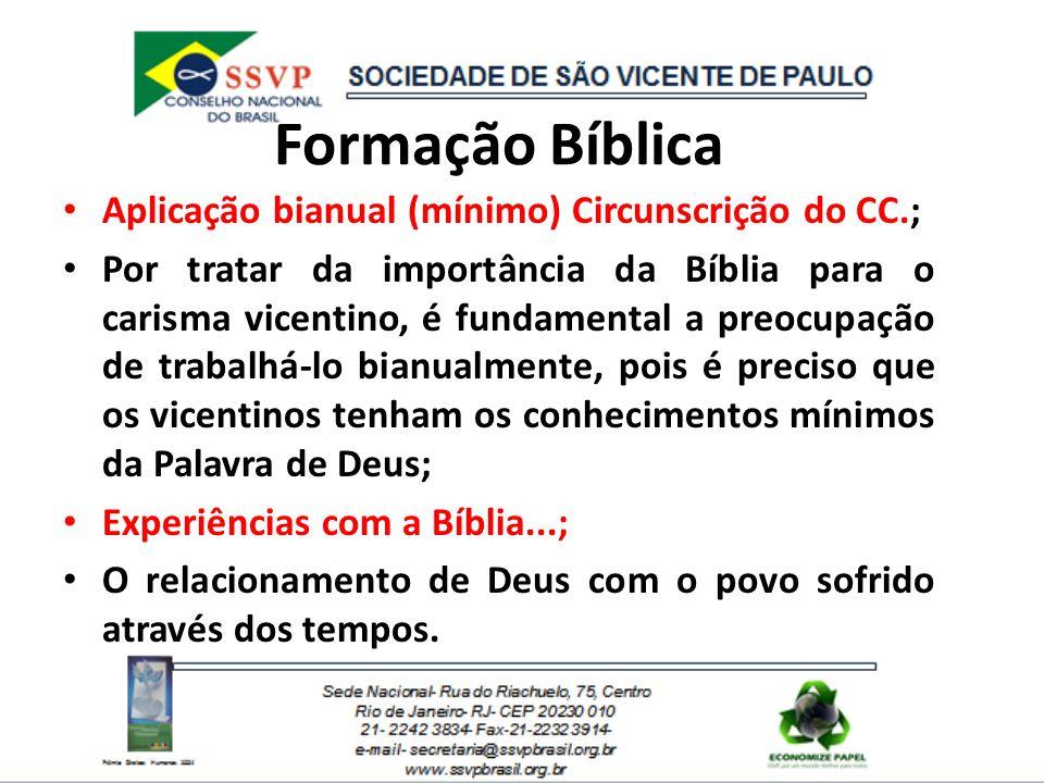 Formação Bíblica Aplicação bianual (mínimo) Circunscrição do CC.;