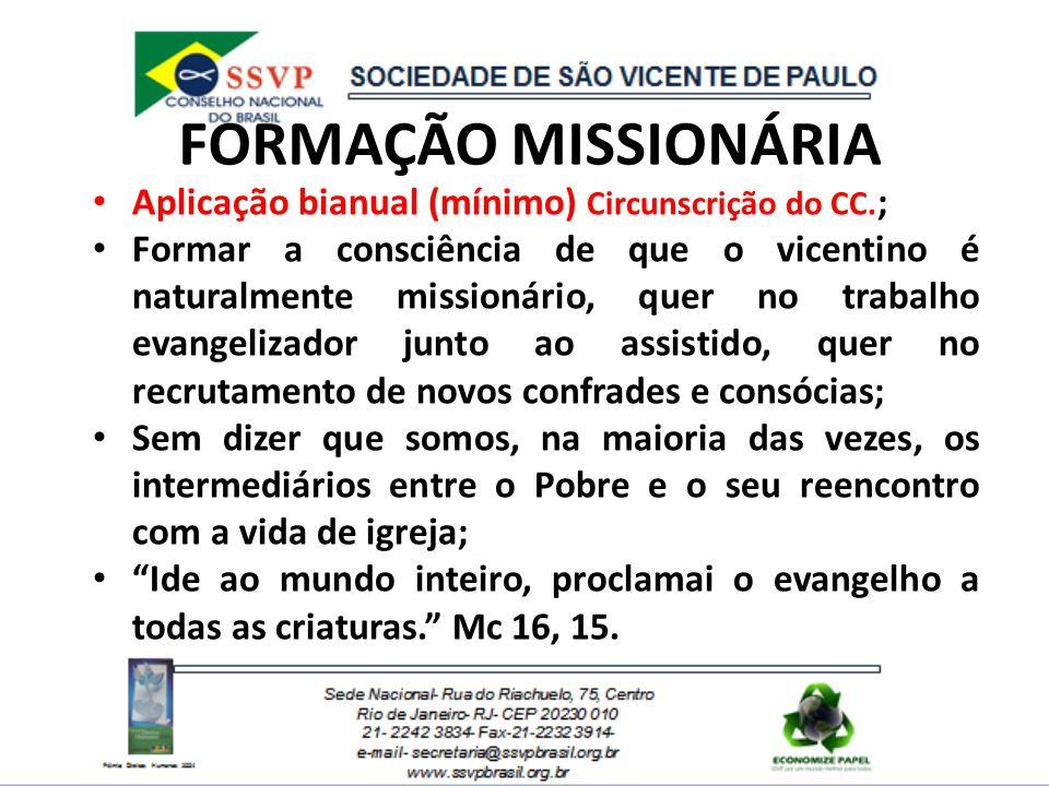 FORMAÇÃO MISSIONÁRIA Aplicação bianual (mínimo) Circunscrição do CC.;