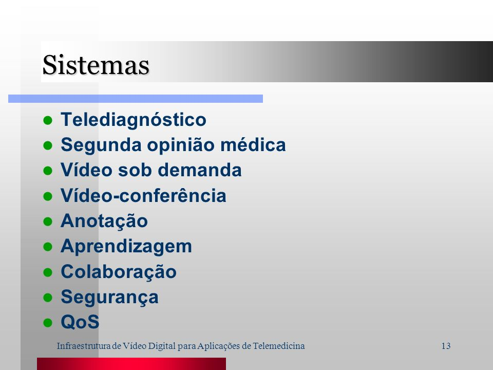 Infraestrutura de Vídeo Digital para Aplicações de Telemedicina
