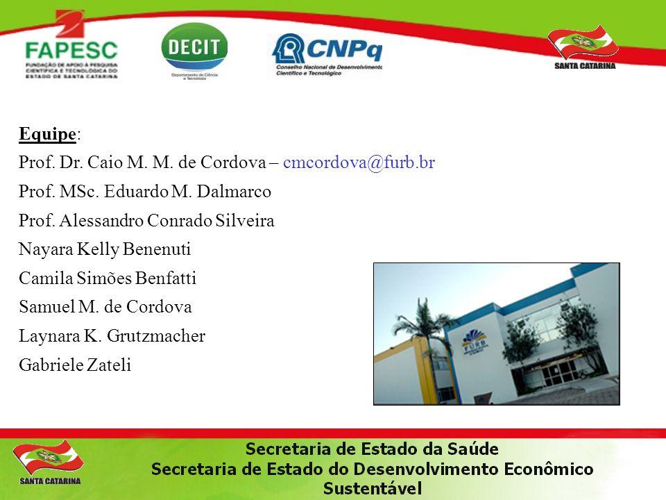 Equipe: Prof. Dr. Caio M. M. de Cordova – cmcordova@furb.br. Prof. MSc. Eduardo M. Dalmarco. Prof. Alessandro Conrado Silveira.