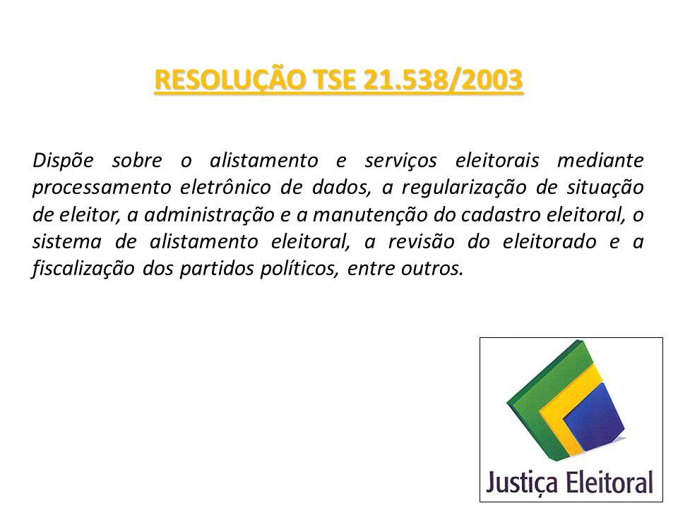 RESOLUÇÃO TSE 21.538/2003