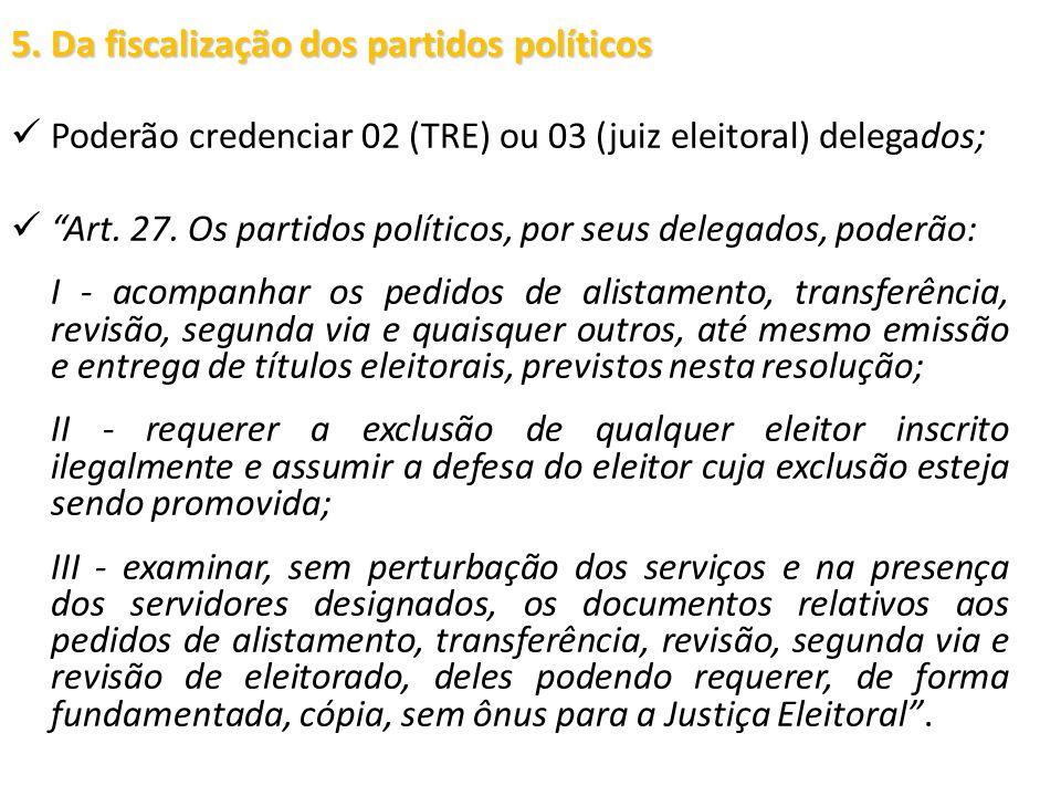 5. Da fiscalização dos partidos políticos