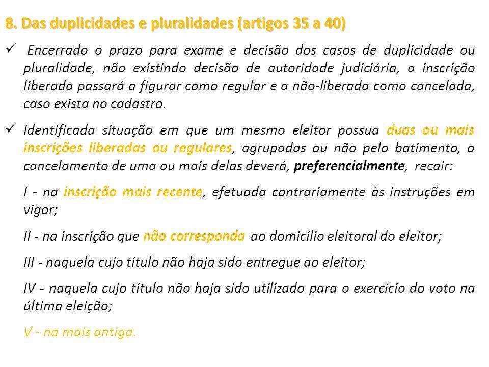 8. Das duplicidades e pluralidades (artigos 35 a 40)