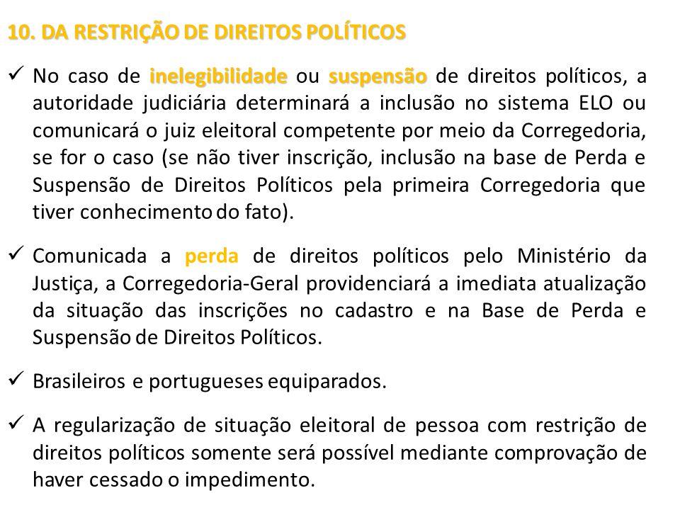 10. DA RESTRIÇÃO DE DIREITOS POLÍTICOS
