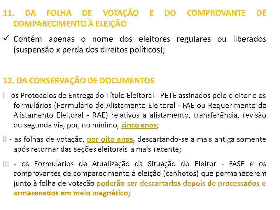 11. DA FOLHA DE VOTAÇÃO E DO COMPROVANTE DE COMPARECIMENTO À ELEIÇÃO