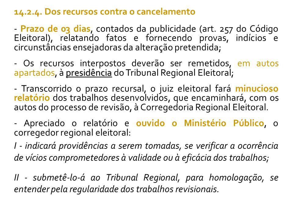 14.2.4. Dos recursos contra o cancelamento - Prazo de 03 dias, contados da publicidade (art.