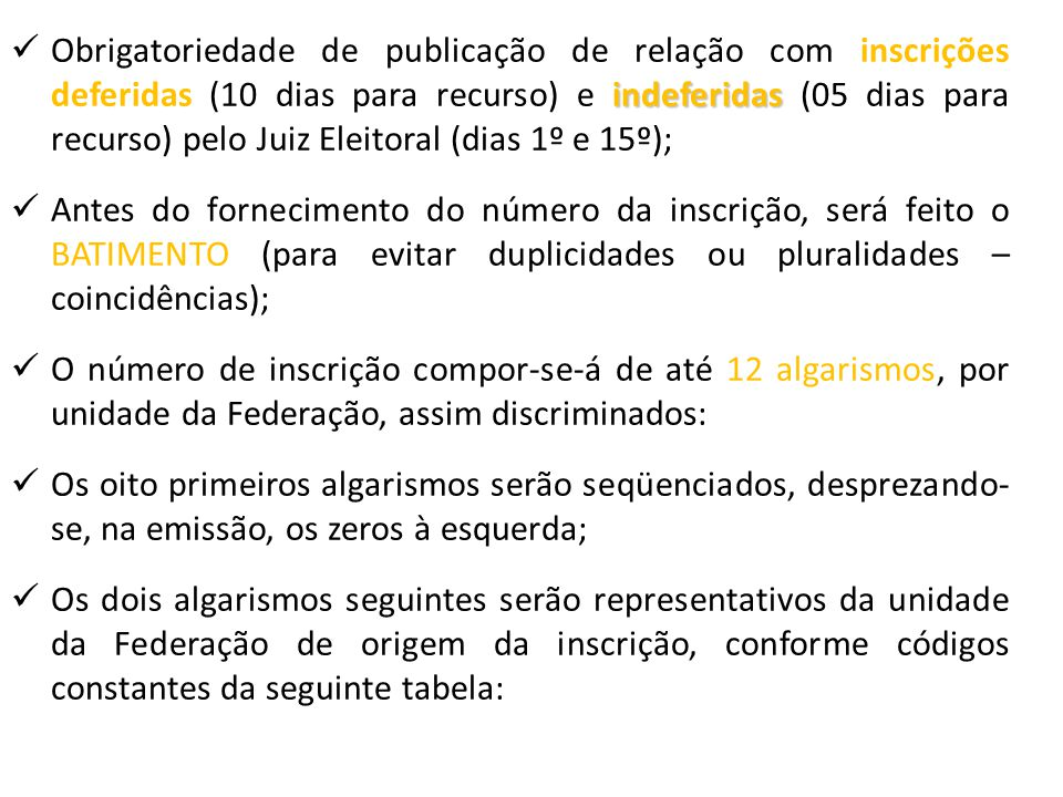 Obrigatoriedade de publicação de relação com inscrições deferidas (10 dias para recurso) e indeferidas (05 dias para recurso) pelo Juiz Eleitoral (dias 1º e 15º);