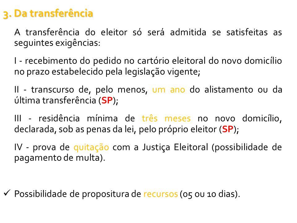 3. Da transferência A transferência do eleitor só será admitida se satisfeitas as seguintes exigências: