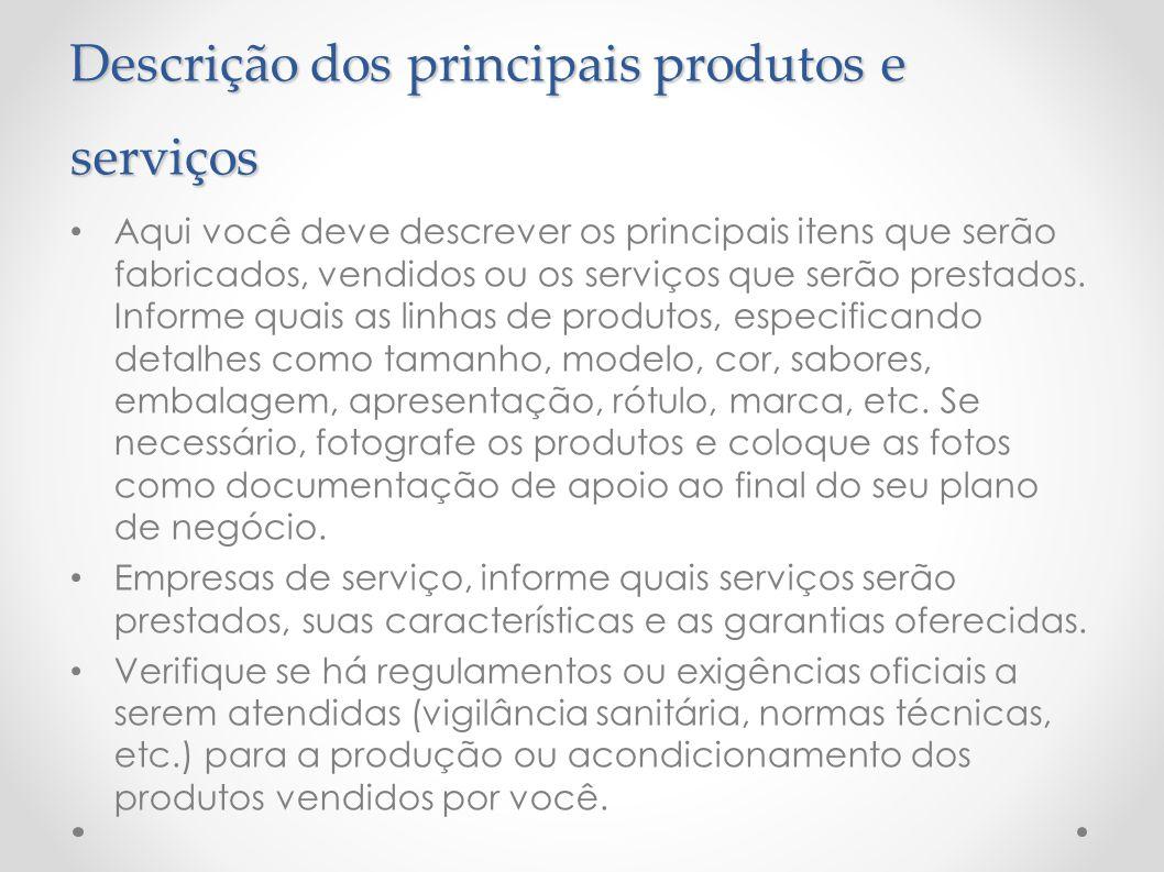 Descrição dos principais produtos e serviços
