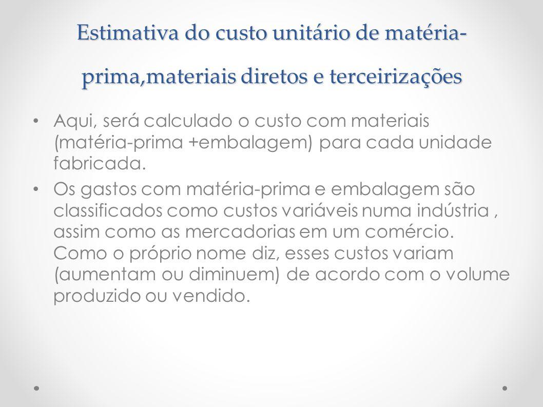 Estimativa do custo unitário de matéria-prima,materiais diretos e terceirizações