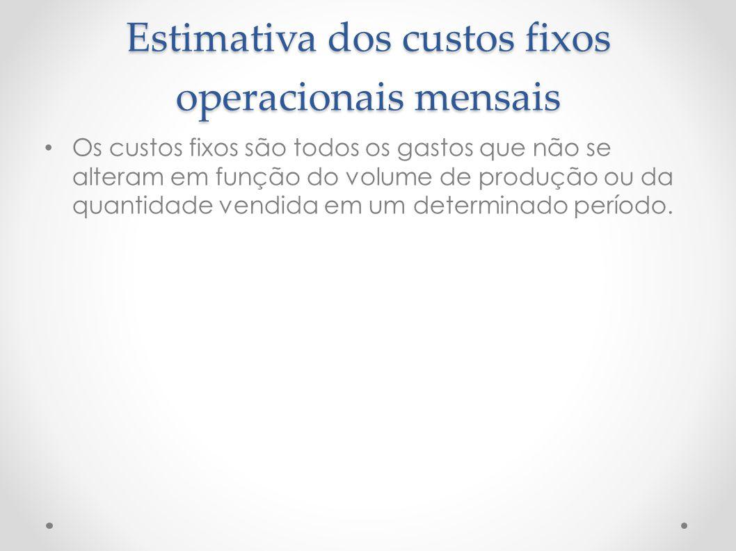 Estimativa dos custos fixos operacionais mensais