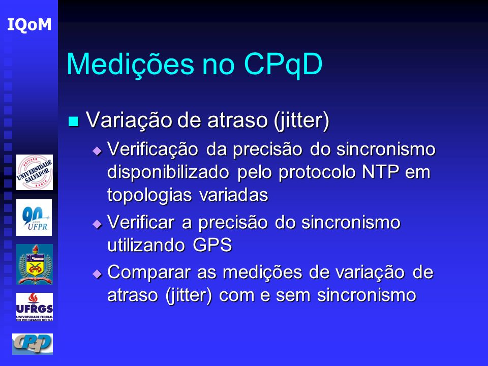 Medições no CPqD Variação de atraso (jitter)
