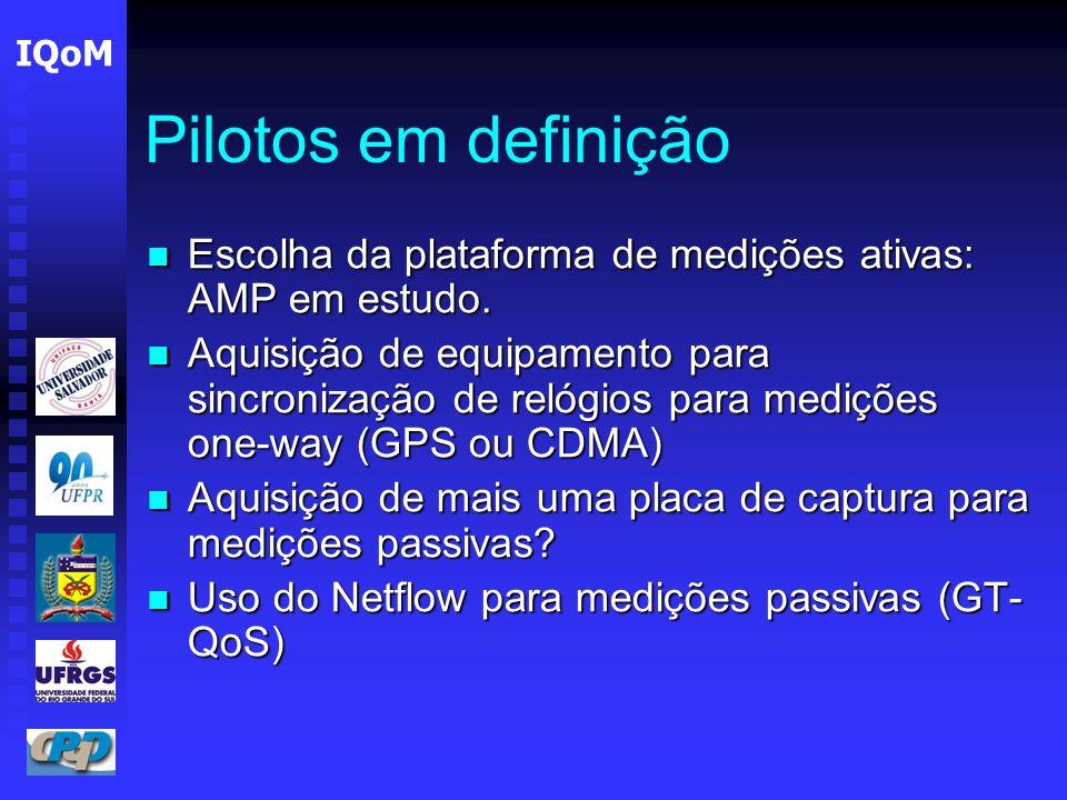 Pilotos em definição Escolha da plataforma de medições ativas: AMP em estudo.