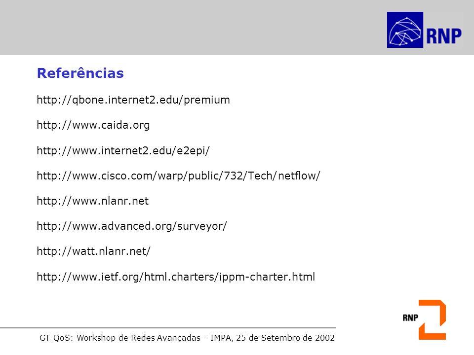 Referências http://qbone.internet2.edu/premium http://www.caida.org