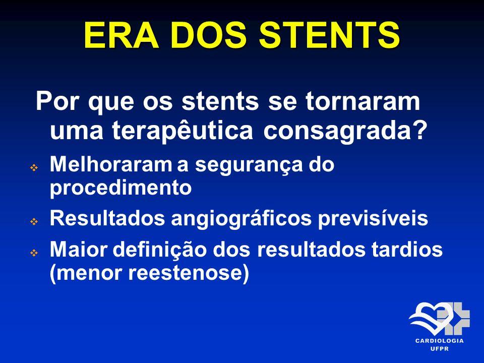 ERA DOS STENTS Por que os stents se tornaram uma terapêutica consagrada Melhoraram a segurança do procedimento.