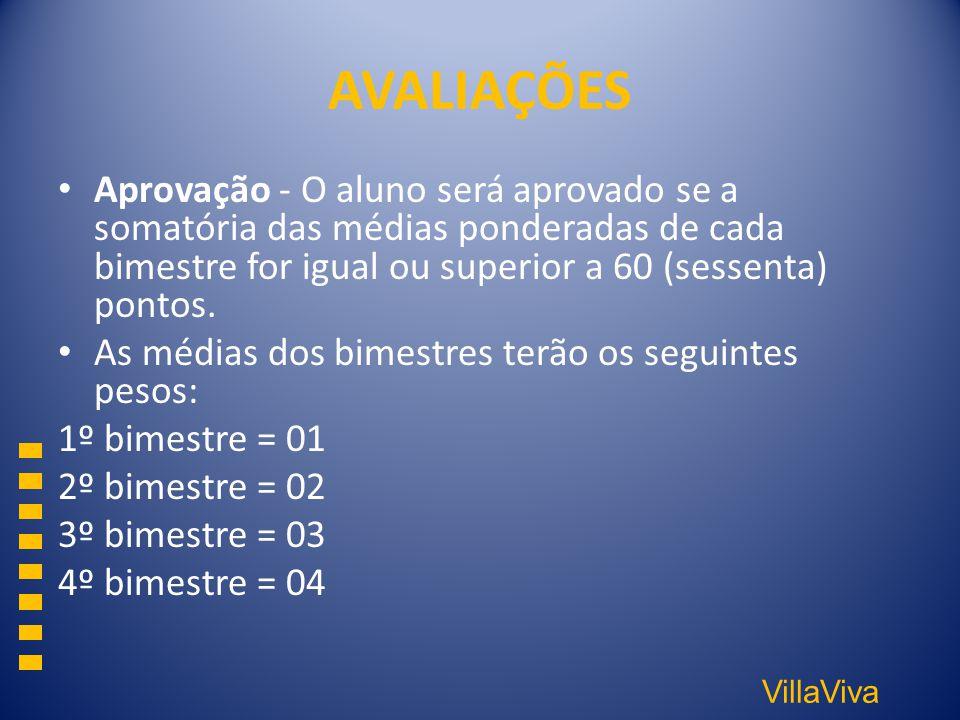 AVALIAÇÕES Aprovação - O aluno será aprovado se a somatória das médias ponderadas de cada bimestre for igual ou superior a 60 (sessenta) pontos.