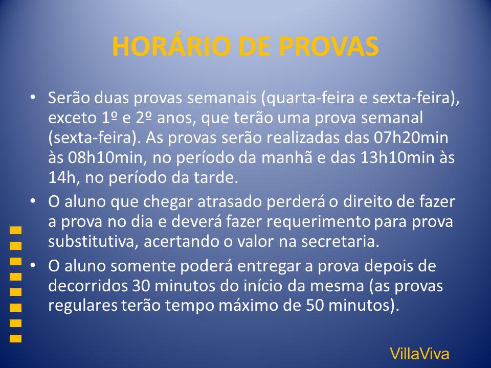 HORÁRIO DE PROVAS
