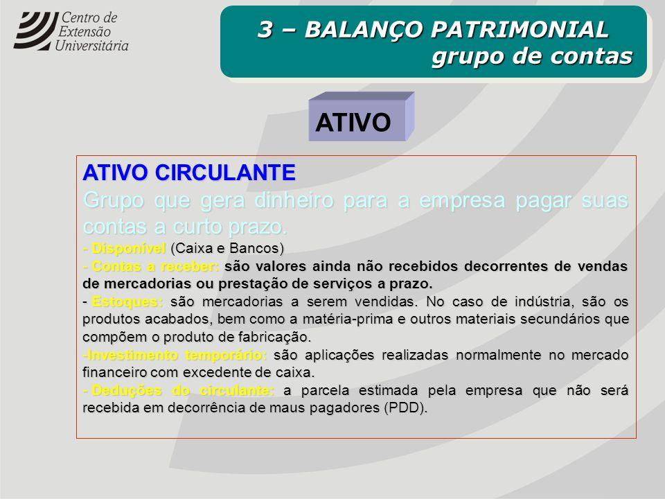 ATIVO 3 – BALANÇO PATRIMONIAL grupo de contas ATIVO CIRCULANTE