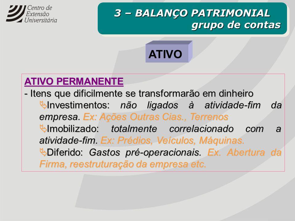 ATIVO 3 – BALANÇO PATRIMONIAL grupo de contas ATIVO PERMANENTE