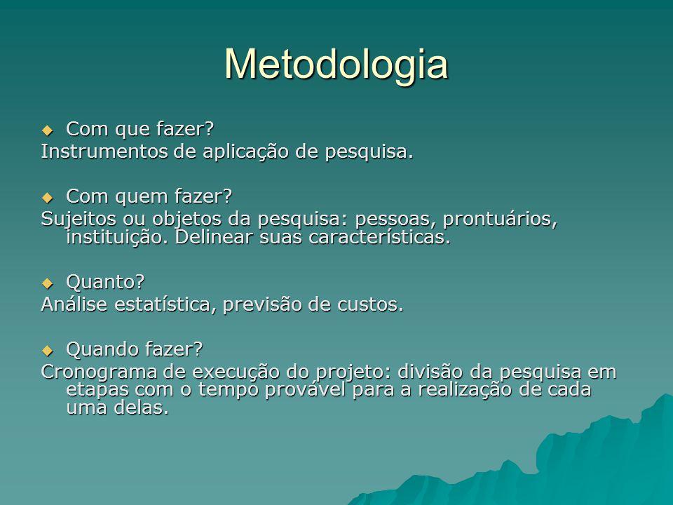 Metodologia Com que fazer Instrumentos de aplicação de pesquisa.