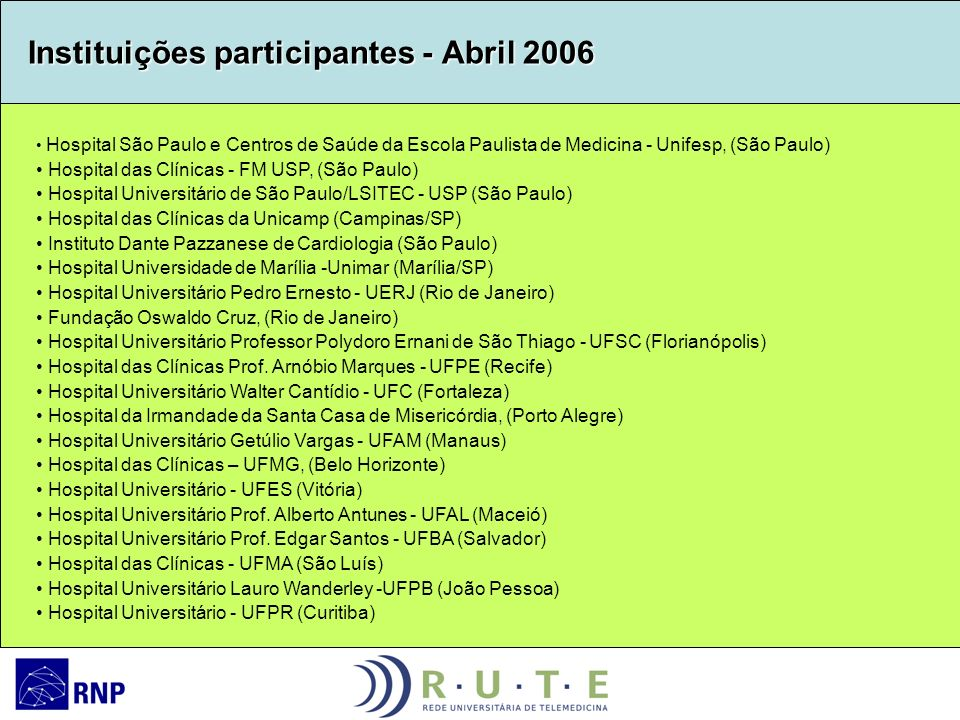 Instituições participantes - Abril 2006